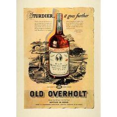 1937 Ad Sturdier Old Overholt Straight Rye Whiskey Bond