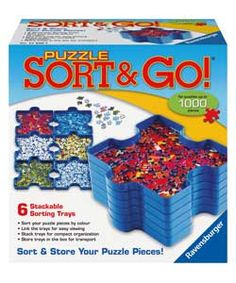 Ravensburger Set of 6 Stackable Puzzle Piece Sorting Trays.