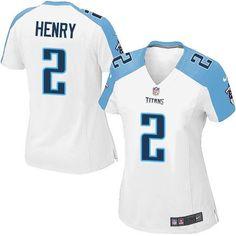 Women's Nike Titans #2 Derrick Henry White Stitched NFL Elite Jersey