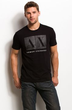 Rhinestone Box Logo Tee - Tee Shirts - Mens - Armani Exchange Buy trending men t-shirt from our store and get off. You will not find this t-shirts in another store, so grab this Limited Time Discount Now! Lacoste, Armani Shirts, Hoodie Outfit, Mens Tee Shirts, T Shirts With Sayings, Branded T Shirts, Couple Shirts, Shirt Style, Shirt Designs
