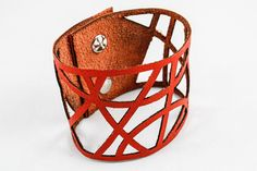 Leather Cutout Cuff  Geometric Pattern  Laser Cut por OnceAgainSam, $22.00
