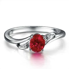 ruby diamond engagement rings | Home > Gemstone Rings > Ruby and Diamond Engagement Ring on 10k White ...