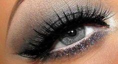 Silver Grey Eye Makeup - Silver Glitter Lower Lash Line - Lashes