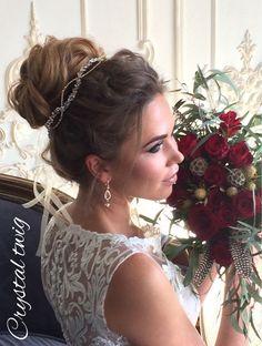 Купить Нежный веночек для прически невесты (золотистый) - венок для невесты, венок на голову, веночек для волос