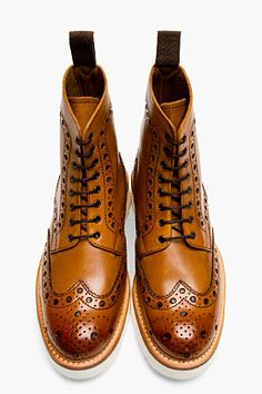 GRENSON Tan Leather Double Sole Fred Brogue Boots