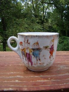 ANTIQUE PALMER COX BROWNIES CHILD'S PORCELAIN MUG CUP PLUS A CHILD'S PLATE (CHF) #PALMERCOXANDCHFPLATE
