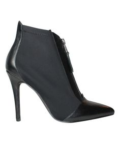 Another great find on #zulily! Black Piers Stretch Leather Bootie #zulilyfinds