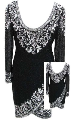 """Oleg Cassini """"Black Tie"""" Evening Dress with Low Scoop Back in Black / White / Silver - Fits Size Small (US Sz 6) - $140.00"""
