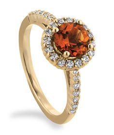Round Halo Engagement Ring - EGRR49 with a Citrine Center Stone