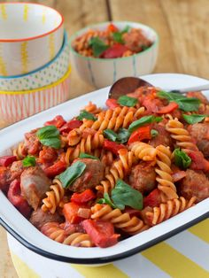 Miguel's Spiral Pasta with Sausages and Basil. Quick, healthy and yummy recipes for you and your little ones. http://www.myfoodbag.com.au/my-food-bags/family