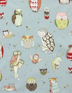 Alexander Henry FABRIC - It's a Hoot - Blue - Home Decor