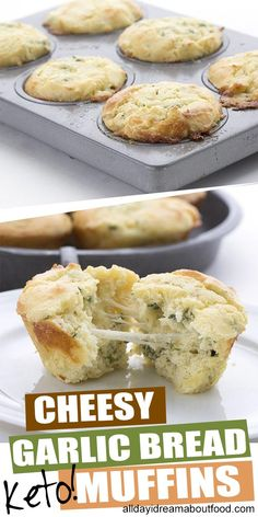 Who says muffins have to be sweet? These savory keto muffins are packed with gooey melted cheese and drizzled with garlic butter. Like cheesy garlic bread in muffin form. A delicious keto meal. Low Carb Recipes, Whole Food Recipes, Cooking Recipes, Healthy Recipes, Bread Recipes, Healthy Foods, Easy Recipes, No Bread Diet, Best Keto Bread