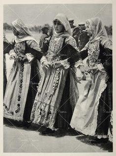 Greek women in folk costume, c. Greek Traditional Dress, Traditional Art, Albania, Macedonia, Greek Dancing, Montenegro, Apollo And Artemis, Atlantis, Greek Culture