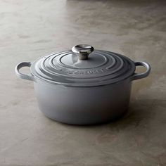 Le Creuset Signature Cast-Iron Round Dutch Oven, 5 1/2-Qt., French Grey
