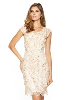 SUE WONG Cap Sleeve Embellished Dress