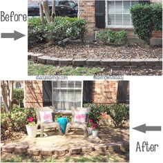 Front Yard Sitting Area Before and After