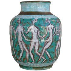 French Deco Edouard Cazaux Ceramic Vase