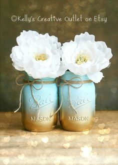 Painted Mason Jar - Vase - Home Decor - Wedding Centerpiece - Baby Shower - Mason Jar Decor - Blue Ombre - Shabby Chic   Perfect for her! Beautiful displayed most anywhere including your work space! These are perfect for wedding centerpieces. They are also great for baby showers and wedding showers or to add some charm to your home. THIS LISTING IS FOR ONE PINT SIZED JAR. They are painted a beautiful combination of aqua and gold. You can fill these jars with water for use as a vase, and…