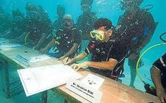 Next, Maldives was the first area in the world to have an underwater cabinet meeting. In 2009 President Mohamed Nasheed moved the cabinet meeting to the bottom of the ocean to raise awareness about climate change. The president and 13 others scrapped on scuba gear and sat in desks that had been sunk to the bottom of the ocean. That was the first time anything like that had been done.