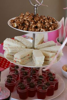 High Tea party food - moose munch, cream cheese and berry sandwiches?? cut with cookie cutters maybe, jello ?? what else?