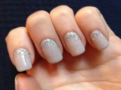 Grey sparkle nails