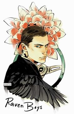 Ronan Lynch dal Raven Cycle di Maggie Stiefvater, disegnato dalla fan artist Cassandra JP. Complesso e in grado di materializzare oggetti dai sogni. Anche noto come Graywaren. Ha un corvo femmina di nome Motosega.