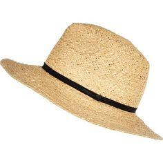Beige raffia fedora hat