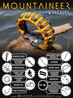 Mountaineer Survival Kit Bracelet..... (I need to DIY me a pouch with all this in it to leave in every vehicle... some of the stuff is on the page in the comments)