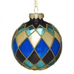 Wilko Decoration Midnight Bauble Harlequin Glass 8cm at wilko.com