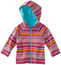 Zutano Baby Girls Multi Stripe Reversible Zip Hoodie Fuchsia 18 Months -- Learn more by visiting the image link.
