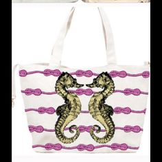 """Sea Horse Canvas Beach Tote Bag This spacious tote fits comfortably over the shoulder and is perfect for carrying all of your beach essentials. 13.5"""" H x 29.5"""" W x 6.5"""" D. Has 3 inner pouch pockets. D ring on the side for clipping keys. Inner snap closure. 100% cotton canvas outer, nylon lining with T/F logo. Retails for $75. Comes to you in its sealed packaging with tags attached. Thursday/Friday Bags Totes"""