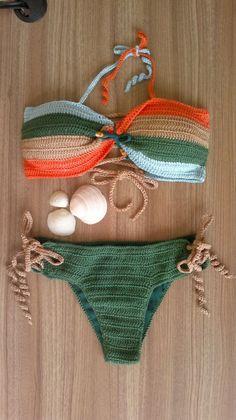 Crochet Bikini Golden Girl To rock this summer! # # Crochet swimwear Ganchillo # Crochet swimwear scheme # Crochet pattern for swimwear # Crochet swimwear handgemac Crochet Bikini Golden Girl To rock this summer! Motif Bikini Crochet, Débardeurs Au Crochet, Bonnet Crochet, Crochet Bikini Bottoms, Crochet Crop Top, Crochet Designs, Crochet Patterns, Crochet Fashion, Crochet Clothes