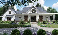 The Willow Creek våningshus plan vakkert komplimenter en innsjø … House Plans One Story, One Story Homes, Dream House Plans, Dream Houses, Log Houses, My Dream Home, Farmhouse Design, Farmhouse Style, Country Style