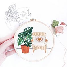 Monstera and Wicker Chair Modern Embroidery Embroidery Kit Christmas Embroidery Patterns, Diy Embroidery Kit, Embroidery Sampler, Simple Embroidery, Modern Embroidery, Embroidery For Beginners, Embroidery Designs, Types Of Stitches, Contemporary Embroidery