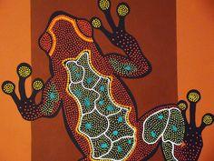 Grenouille aborigène acrylique - gros plan