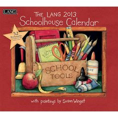 """Susan Winget Schoolhouse Wall Calendar: Susan Winget's """"Schoolhouse"""" calendar encourages all to """"Open your mind, the world awaits"""". Industry rated as the #1 calendar since 1999, LANG Wall Calendars are the most popular brand among consumers year after year.  $15.99  http://calendars.com/Back-to-School/Susan-Winget-Schoolhouse-2013-Wall-Calendar/prod201300001736/?categoryId=cat00149=cat00149#"""