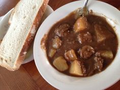 Ragout De Pattes Et Boulettes. Pork hock stew with meatballs and potatoes. New Year fav. Pork Hock, Quebec, Love Food, Stew, Bacon, Potatoes, Candy, Cooking, Pork