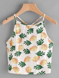 Shop Pineapple Print Y Back Cami Top online. SheIn offers Pineapple Print Y Back. - Shop Pineapple Print Y Back Cami Top online. SheIn offers Pineapple Print Y Back Cami Top & more to - Crop Top Outfits, Cool Outfits, Summer Outfits, Summer Wear, Fashionable Outfits, Summer Diy, Dressy Outfits, Spring Summer, 2017 Summer