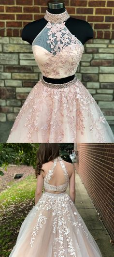 gorgeous two piece long prom dress, 2018 long prom dress, high neck pink lace long prom dress formal evening dress