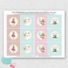 Alice in Wonderland Party Printable Cupcake Toppers - party circles - party logos by hello love designs