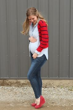 chambray and red spring maternity style via Laughing Latte - Not a fan of the shoes but everything else is great.