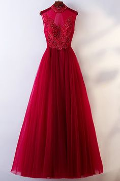 Shop affordable Vintage Chic High Neck Burgundy Prom Dress With Tulle Sleeveless online. Custom-made any plus size or color. Pro since 2009.