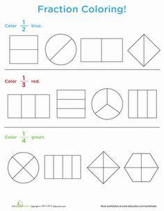 First Grade Fractions Worksheets: Fraction Coloring