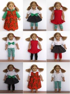 """18"""" American Girl Doll clothes sewing patterns to download - HOLIDAY collection"""