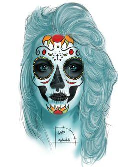 Sugar Skull Girl Potrait by Ambylise.deviantart.com on @deviantART