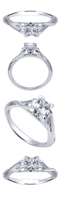 Intertwine your lives in love starting with a 14k White Gold Contemporary Criss Cross Engagement Ring.