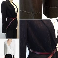 French Connection Wrapover White Blouse €79 Pomandère Black Colbert €364 Just Female Wide Black Trousers with White Stitch €99