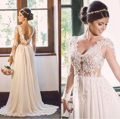 Vestido de noiva ideal para cerimônias ao ar livre.