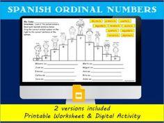Spanish ordinal number practice- Podium winners-Printable WS Middle School Spanish, Elementary Spanish, Elementary Education, Spanish 1, Spanish Class, Teaching Spanish, Spanish Activities, Learning Activities, Teaching Resources