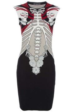 Ai-yai-yai, bury me in this Intarsia knit dress featuring a red and white skull and bone pattern by Alexander McQueen